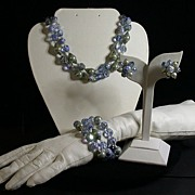 Vendome 3-pc. Parure, Pale Blue, Faux Pearls, Vintage 1960's