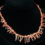 "SALE Vintage Natural Tiny Branch Coral Necklace, Salmon Color, 18"""