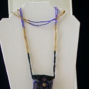 "Vintage Handmade Beaded Amulet Bag Necklace 30"" Length"