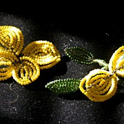 Vintage Pair of Wire Beaded Yellow Flowers/Foliage