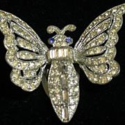 Vintage  Clear Rhinestone Butterfly Dress Clip c.1930's