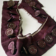 Antique Set of 21 Matching Buttons On Original Silk Placket
