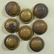 Antique Set of 8 G.A.R. Uniform Cuff Buttons Circa 1865-1900