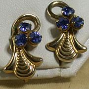 Retro Blue Rhinestone Earrings, Circa 1940's