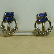 12K Gold Filled Earrings With Blue Baguettes & Clear Rhinestones