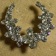 Vintage Clear Rhinestone Open Wreath Shaped Pin, Sparkly!