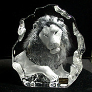 SALE Vintage Mats Jonasson Signature Collection Lion In Crystal