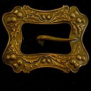 Scottish Themed Regalia Buckle Brooch W/Thistles/ Acorns, Antique
