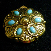 "REDUCED Vintage ""ART"" Scarf Clip/Pin Set With Turquoise Blue Cabochons"