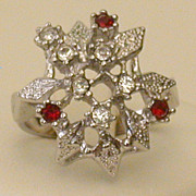 Vintage Silvery Holiday Ring W/Red, Clear Rhinestones, Size 4.75