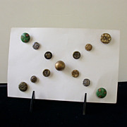 REDUCED Vintage Button Lot, Carded--3 Pairs and 6 Singles