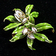 SALE Hattie Carnegie Enameled Orchid Pin Vintage Mid 20th Century