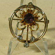 Vintage VanDell 12K Gold Filled Pin w/Purple & Clear Rhinestones