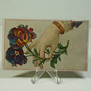 Antique Victorian Scrap Lady's Hand Holding Pansies, C. 1880's