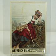 """Victorian Trade Card, """"Wheelock Pianos"""" Circa 1880's"""
