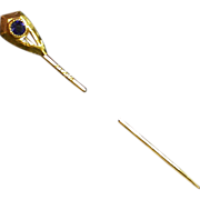 SALE Antique 14K Stickpin w/Blue Stone, Maker's Mark