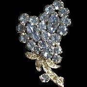 Eisenberg Ice Vintage Blue/Clear Rhinestone Pin, Floral