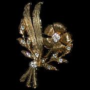 Vintage Costume Floral Design Pin w/Clear Rhinestones