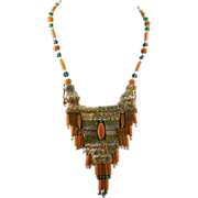Contemporary Handwoven/Beaded Necklace w/Silver Clasp