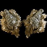 Vintage Ledo Signed Shell Form Earclips, Goldtone/Rhinestone