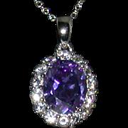 Sterling Silver/Lab Tanzanite/White Sapphire Pendant/Chain