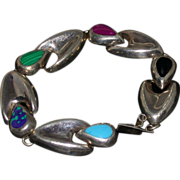 Mexican Sterling And Multi-Stone Bracelet, Marked, Vintage