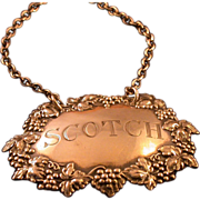 "Silver Decanter Collar on Chain, Engraved ""Scotch"", Vintage"