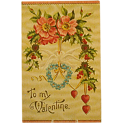 Antique Valentine Postcard, Embossed, Textured c. 1910-13