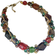 Multi-Color Glass And Chain Chunky Choker, Vintage