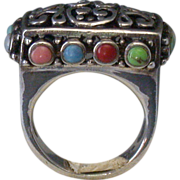 Sterling Ring W/Turquoise/Coral/Mother of Pearl Cabochons