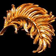 """B.S.K."" Signed Feather Motif Pin, Textured/High Polish"