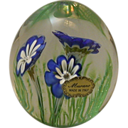 Vintage Murano Glass Flower Paperweight With Original Label