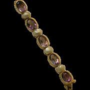Amethyst, FW Pearl and 14K Yellow Gold Bar Pin, Circa 1900