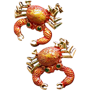 Pair Of Tiny Articulated Crab Scatter Pins, Enameled