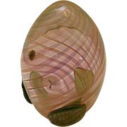 Art Glass Egg With Hummingbird/Flower And Leaf Decoration