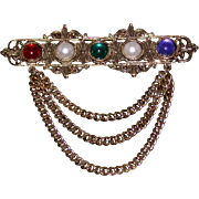 Ornate Bar Pin w/Faux Pearls & Colored Cabochons, Chain Swags
