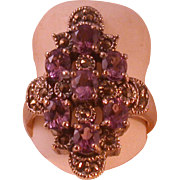 Sterling/Marcasite/Lavender Ice CZ Ring, Size 7 ½