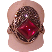 Vintage Sterling, Marcasite & Red Glass Pyramid Cabochon Ring