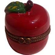 Figural Porcelain Apple Box W/Hinged Lid, Hand Painted