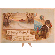 Thanksgiving Postcard, Turkeys, Snowy Landscape & Greeting