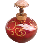 Vintage Red Glass Perfume Decorated With Applied Gilding, Leaves