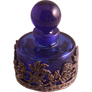 Cobalt Blue Glass Perfume Bottle w/Floral Pewter Overlay, Vintage