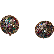 """Emmons Signed """"Confetti"""" Earrings, Post 1955"""