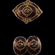 Costume Demi-Parure Purple w/Clear Crystal Accents, Vintage
