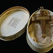 SALE Antique14K and Wood Cross Pendant, Norwegian c.1860-90