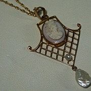 SALE Vintage Conch Shell Cameo in 10K Mounting w/ Pearl Accents