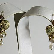SALE Antique Victorian 14K Gold Floral/Leaves & Pearl Drop Earrings
