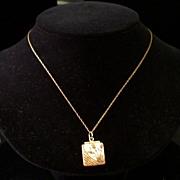 SALE Antique Aesthetic Movement 14K Gold-Topped Locket w/Garnet