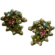 Hollycraft Multi-Stone/Faux Pearl Earclips, Copyright 1951