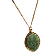 Carved, Pierced Jade/14K Gold Pendant On 14K G.F. Chain
